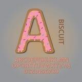 Krämigt ljusbrunt alfabet och nummervektor royaltyfri illustrationer