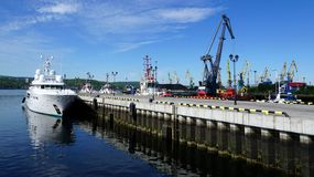 Kräne, die Kohle im Hafen laden lizenzfreie stockfotografie