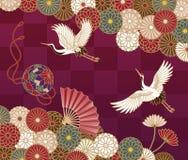 Kräne und japanisches traditionelles Muster der Chrysanthemen lizenzfreies stockbild