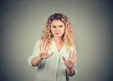 Kränkt kvinna som frågar att stoppa royaltyfria bilder