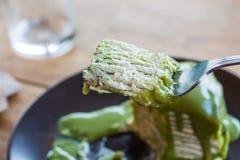 Kräppkaka för grönt te Royaltyfri Fotografi