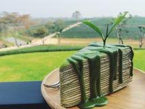 Kräppkaka för grönt te Arkivfoto