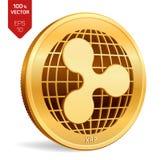 kräuselung isometrische körperliche Münze 3D Digital-Währung Schlüsselwährung Goldene Münze mit Kräuselungssymbol lokalisiert auf Lizenzfreie Stockbilder
