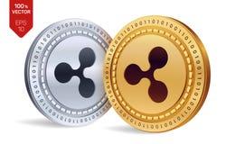 kräuselung isometrische körperliche Münzen 3D Digital-Währung Cryptocurrency Goldene und Silbermünzen mit Kräuselungssymbol lokal Stockfotografie