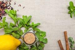 Kräuter für Tee und eine Zitrone auf einem Leinenhintergrund Lizenzfreie Stockbilder