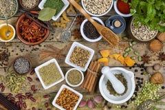 Kräuter und Gewürze - Kochen von Bestandteilen Lizenzfreies Stockfoto