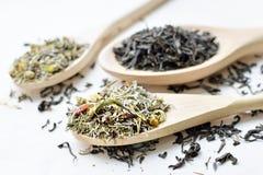 Kräuter- und schwarzer Tee Stockbilder