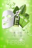 Kräuterhautpflegemaskenanzeigen Vector Illustration mit glatt machender Kräutermaske und Serum vektor abbildung