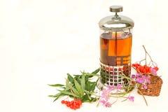 Kräutertee in einer Teekanne Stockfotos