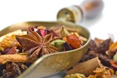 Kräutertee mit Blättern, Früchten und Kraut Stockfotografie
