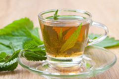 Kräutertee mit Nesselblüte innerhalb der Teetasse, Tee der stechenden Nessel Stockfoto