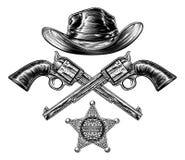 Krócicy i kowbojski kapelusz z szeryf gwiazdy odznaką ilustracji