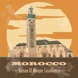 Królestwo Maroko punkty zwrotni Hassan III meczet w Casablanca royalty ilustracja