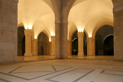 Królewiątka Hussein kosza Talal meczet w Amman Jordania, (przy nocą) Obrazy Stock