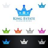 Królewiątka nieruchomości, Real Estate loga wektorowy projekt z domem, i ekologia kształtujemy, odizolowywaliśmy na białym tle, Obraz Royalty Free