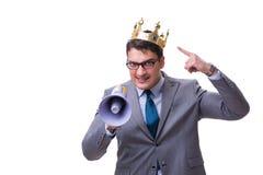 Królewiątko biznesmen z megafonem odizolowywającym na białym tle Zdjęcia Royalty Free