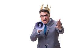Królewiątko biznesmen z megafonem odizolowywającym na białym tle Fotografia Stock