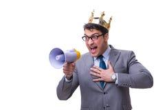 Królewiątko biznesmen z megafonem odizolowywającym na białym tle Zdjęcie Stock