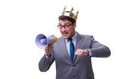 Królewiątko biznesmen z megafonem odizolowywającym na białym tle Fotografia Royalty Free