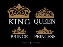 Królewiątko, królowa, książe i Princess, - set para rodzinny projekt Zdjęcie Stock