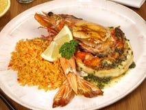 Królewiątko krewetka - Tygrysia krewetka z Rice zdjęcie royalty free