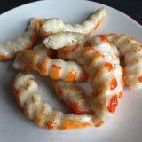 Królewiątko krewetki ogony przygotowywający jeść zdjęcie stock