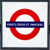 Królewiątko krzyża St Pancras metro Fotografia Royalty Free