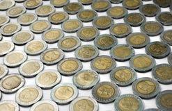 Królewiątko tajlandzki w dziesięć skąpaniu menniczym, moneta tajlandzki tło zdjęcia stock