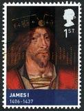 Królewiątko James Ja Szkocja UK znaczek pocztowy Zdjęcia Royalty Free