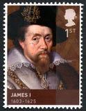 Królewiątko James Ja UK znaczek pocztowy Fotografia Royalty Free