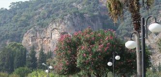 Królewscy grobowowie zapraszają gościa odwiedzać historii strony i brać one różny świat Fethiye, Turcja fotografia royalty free