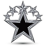 Królewska czerni gwiazda z srebnym konturem, geometryczne stylizowane gwiazdy Zdjęcia Stock