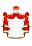 Królewska czerwona aksamitna salopa z złotą koroną Obrazy Stock