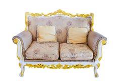 Królewska kanapa z poduszkami w beżowy luksusowym Obrazy Stock