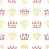 Królewska korona i brylant na bezszwowym deseniowym tle Królewiątka i królowej korona i diamentowy kontur na białym tle Fotografia Royalty Free