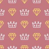 Królewska korona i diamentowy kontur na bezszwowym deseniowym tle Królewiątko, queencrown i brylant na różowym tle Zdjęcie Royalty Free