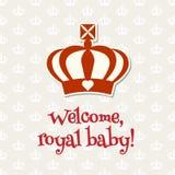 Królewska korona z teksta powitania królewskim dzieckiem, ilustracja Zdjęcie Stock