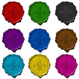 królewska pieczęć znak kolorowy wosk Zdjęcie Stock