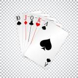 Królewska prosta karta do gry grzebaka ręka ilustracji