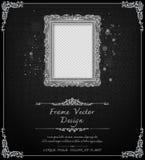 Królewska rama na czerń wzoru tle, rocznik fotografii rama na kaczora tle, antyk ilustracja wektor