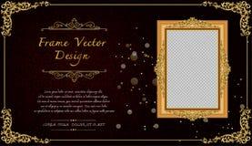 Królewska rama na czerń wzoru tle, rocznik fotografii rama na kaczora tle, antyk Obrazy Stock