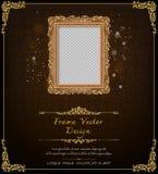 Królewska rama na czerń wzoru tle, rocznik fotografii rama na kaczora tle, antyk Zdjęcie Royalty Free