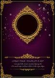 Królewska rama na czerń wzoru tle, rocznik fotografii rama na kaczora tle, antyk Zdjęcia Royalty Free