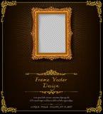 Królewska rama na czerń wzoru tle, rocznik fotografii rama na kaczora tle, antyk Obrazy Royalty Free