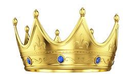 Królewska złocista korona z szafirami odizolowywającymi na bielu royalty ilustracja