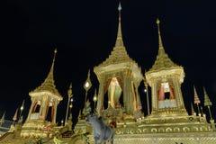 Królewski Crematorium dla HM królewiątko Bhumibol Adulyadej Tajlandia przy nocą Obraz Royalty Free