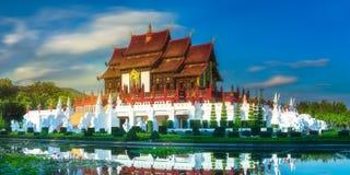 Królewski flory Ratchaphruek park przy zmierzchu Chiang Mai Fotografia Royalty Free