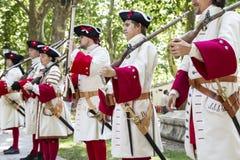 Królewski gwardzista podczas odtworzenia wojna następstwo Fotografia Stock