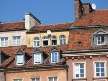 Królewski kasztel, starzy domy miejscy w starym miasteczku Warszawa, Polska Dnia widok obrazy royalty free