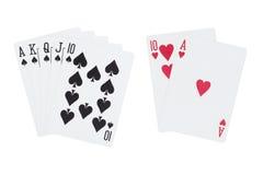Królewski prosty flushrydla andblackjack karta do gry Zdjęcie Royalty Free